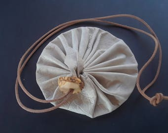 "4"" Goatskin Leather Drawstring circle coin pouch gem bag"