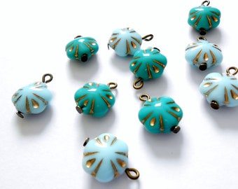 11mm  Turquoise Mix Light Blue/Green Flower Czech Glass Dangle Beads