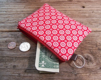 Change purse- Coin purse -  small zipper wallet in red flower fabric has a keyring ,will fit all your cards and change.