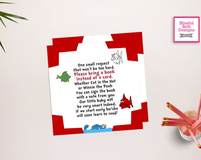 SEUSS BOOK CARD Dr. Seuss Fish Printable Baby Shower Book Card, Baby Shower Insert, Seuss Fish Book Insert Card, Instant Download