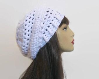 Slouchy Crochet Hat White Slouch Beanie Crochet Slouch Tam White Slouchy Hat White Crochet Tam White Beanie Crochet slouch knit beanie