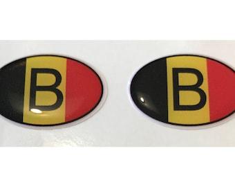 Belgium B Domed Gel Stickers (2x) for Laptop Tablet Book Fridge Guitar Motorcycle Helmet ToolBox Door PC Smartphone