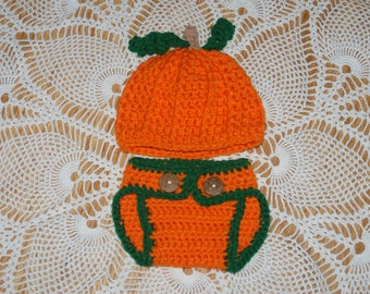 Crochet Baby Pumpkin Outfit Crochet Pumpkin Infant Baby Hat and Diaper Cover Halloween or Thanksgiving  , Ready to Ship One Business Day