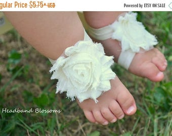 SALE Adorable IVORY Barefoot Sandals - Baby Shoes - Frayed Chiffon Flower Sandal - Newborn Baby Photo Prop  - Wedding Flower Girl - Easter