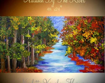 """ORIGINAL 48""""Abstract gallery canvas-Contemporary Palette Knife Impasto painting """" Autumn By The River""""  by Nicolette Vaughan Horner"""