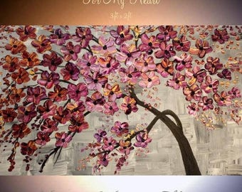 """SALE ORIGINAL 36""""Abstract Acrylic gallery canvas-Contemporary Modern Plum,Purple,gold Blossom Tree painting by Nicolette Vaughan Horner"""