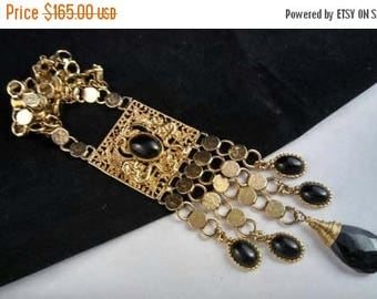 On Sale Bold Vintage Dragon Serpent  Runway Tasseled Pendant Necklace