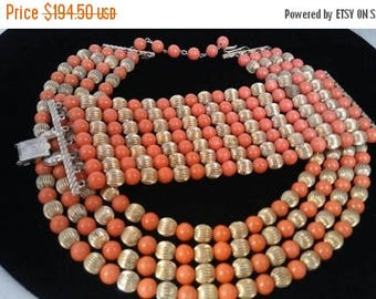Now On Sale Coro Gold & Orange Beaded Statement Necklace Bracelet Set, High End Designer Signed Collectible Hard To find Rare Jewelry Parure