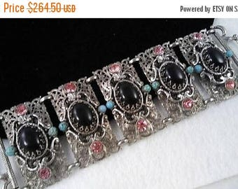 On Sale Vintage Unsigned Selro Pink Black Aqua Rhinestone Chunky Wide Bracelet - Retro 1950's 1960's- High End Hard To Find Jewelry