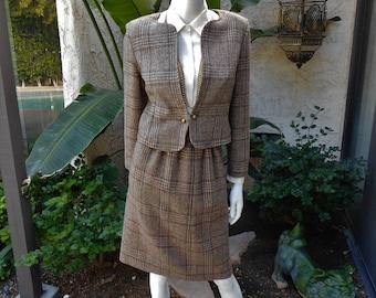 Vintage 1980's Brown Wool Plaid Suit - Size