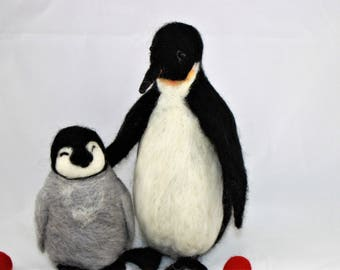 Needle felted Penguin soft sculpture, full body standing penguin, 2 sizes large adult or baby penguin custom pet portrait, ready to mail
