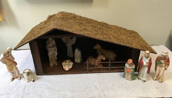 Large Wood Nativity w porcelain figurines Angel, Mary, Joseph, Baby Jesus, barn stable w Donkey, Cow, David & his Sheep