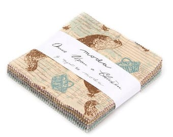 """12% off thru July one charm pack  ONCE UPON a CHICKEN  moda 42 5"""" squares cotton fabric Mary Jane Butters farm fun"""