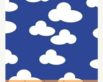 12% off thru July FARM cotton print by the yard  white clouds on blue sky Windham Fabric 42168-5