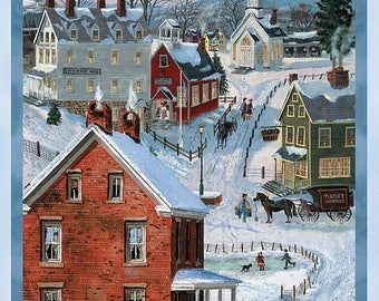 12% off thru July AFTER THE SNOW Wilmington prints Christmas cotton fabric panel Town Village Scene 72251-431