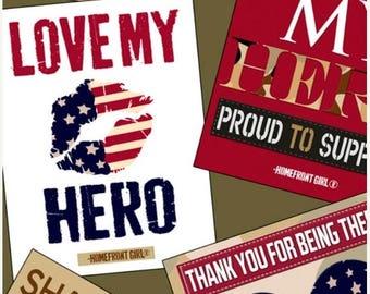 20% off thru 2/22 LOVE MY HERO-by half yard by Qt fabrics-Homefront Girl- words inspirations patriotic Americana 24783 G