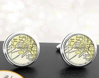 Map Cufflinks Adelaide Australia Cuff Links for Groomsmen Groom Fiance Anniversary Wedding Party Fathers Dads Men