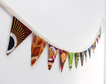 African Wax Print Rainbow Bunting Flags Garland
