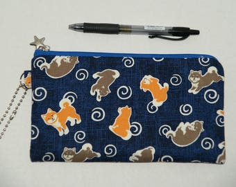 "Padded Zipper Pouch / Pencil Case / Cosmetic Bag Made with Japanese Cotton Fabric ""Shiba Inu - Swirls"""