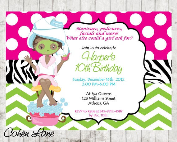 Diy sassy spa party invitation african american little girl spa il570xn stopboris