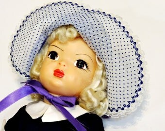 """Vintage Doll Bonnet, Handmade Fancy Blue Chiffon Dotted Swiss Baby Doll Hat, 16"""" to 18"""", 1950s Mid-Century Doll Clothes  itsyourcountry"""