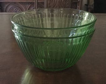 A Pair of Vintage Ribbed Green Glass Pyrex Mixing or Serving Bowls