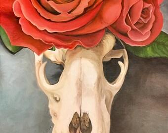 Skull and Roses original oil painting