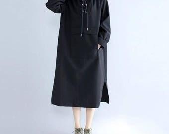 Women Loose black Cotton Long Hooded dress black Bottoming dress