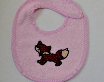 Running Fox Infant Bib- Running Fox Applique Infant Bib