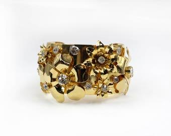 Gold Cuff, Gold Flower Cuff, Flower Cuff, Gold Flower Bracelet, Statement Cuff, Unique Cuff, Flower Bridal Cuff, Gold Bridal Bracelet, Cuff