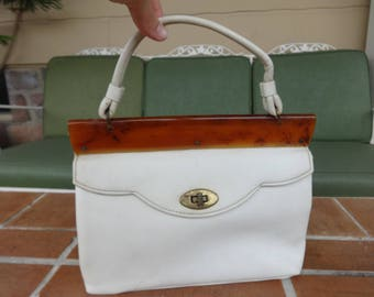 Vintage women's handbag white patent leather 1950-60's tortoise mid century MOD retro