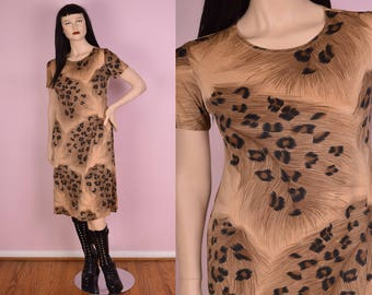 90s Leopard Feather Print Dress/ Large/ 1990s