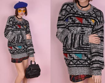 80s Multi Color Graphic Sweater Unisex Large/ 1980s