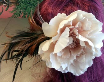 Shabby Chic Feather Peony Flower Fancy Vintage Style Hair Clip Barrette