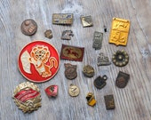 Set of 20 Vintage Soviet Russian BROKEN badges,pins.
