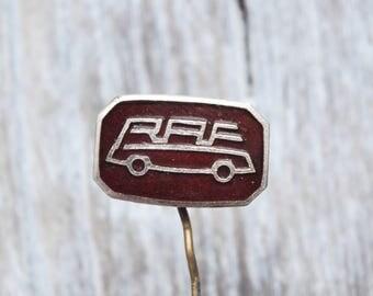 "Vintage Latvian enamel badge,pin.""Riga Car Factory"""