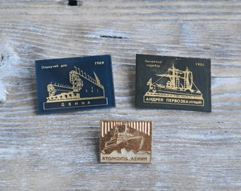 "Vintage Soviet Russian badges,pins.""Russian ships"" Set of 3."