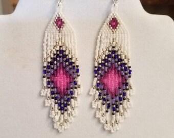 Native American Style Beaded Spring Pink Peacock Eye Earrings Boho, Hippie, Southwestern Gypsy, Belly Dancer, Brick Stitch Ready to Ship