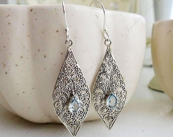 Blue Topaz Tear Drop Filigree Bali Sterling Silver Earrings JD73B