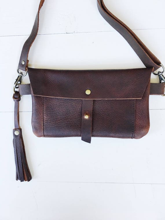 Leather fanny pack, leather hip bag, brown leather, belt bag, travel pouch, festival fanny pack, travel hip bag, fanny pack