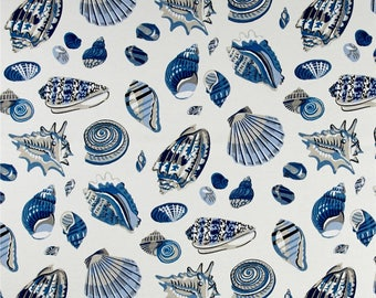 Two 20 x 20  Designer Decorative Pillow Covers for Indoor/Outdoor - Beach Shells - Atlantic - Blue Grey