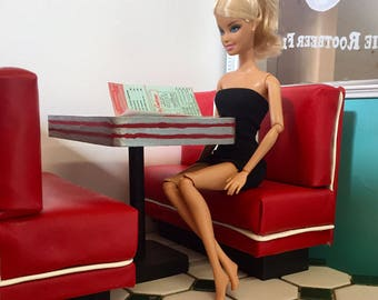 """1:6 Scale Barbie Bench and table for Soda Shop/Diner/Cafe/Diorama/Dollhouse in Red/White/Silver/Black pedestal (Blythe, 12"""" Figures)"""