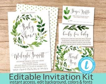 Botanical Greenery Baby Shower invite Kit, Baby Shower Invitation,  Greenery Baby Shower Suite, Editable, Templett, Instant Download