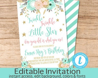 Twinkle Twinkle Little Star Birthday Invitation, Peach Mint Gold Floral Invitation, Editable Birthday Invitation, Templett, Instant Download