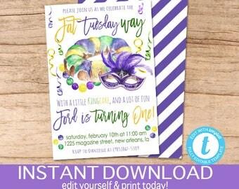 Mardi Gras King Cake Invitation, Mardi Gras celebration, Editable Fat Tuesday Party template, laissez les bon temps rouler, Instant Download