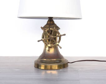 Vintage Brass Ship Wheel Nautical Lamp