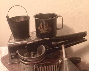 Vintage Primitive Black Painted Wood Handle Bread Loaf Metal Potato Masher Potato Peeler Metai Pail Tole Tin Cup Metal Loaf Pan Rustic