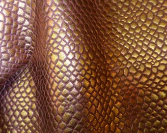 "New Leather 12""x12"" Reptile Pattern Iridescent Metallic BRONZE Embossed Cowhide 2oz / .8mm PeggySueAlso™ E1550"