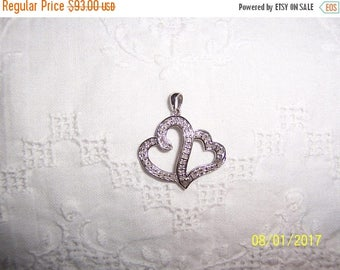TWICE A YEAR, 25% Off Vintage Clear Diamonds double heart pendant. Sterling silver.