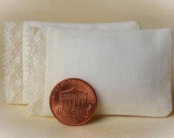 Dollhouse Miniature Pillows Set of 2 Ivory Bed Pillows with delicate lace detail - 1:12 scale